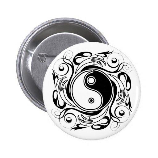 Símbolo de Yin y de Yang Pin Redondo De 2 Pulgadas