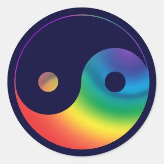 Símbolo de Yin Yang del arco iris Pegatina Redonda
