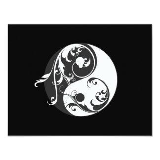 """Símbolo de Yin Yang del movimiento en sentido Invitación 4.25"""" X 5.5"""""""