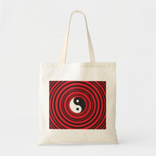 Símbolo de Yin Yang Taijitu con el modelo rojo de  Bolsas Lienzo