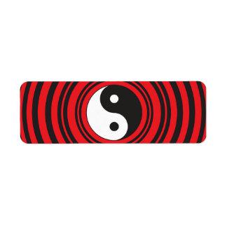 Símbolo de Yin Yang Taijitu con el modelo rojo de  Etiqueta De Remite
