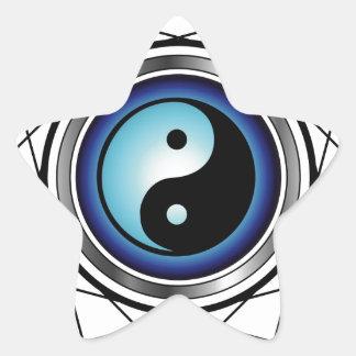 Símbolo de Ying Yang con resplandor azul Colcomanias Forma De Estrellaes Personalizadas