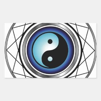 Símbolo de Ying Yang con resplandor azul Rectangular Pegatinas