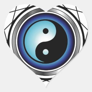 Símbolo de Ying Yang con resplandor azul Calcomanía De Corazón