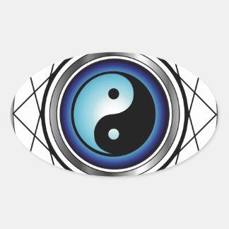 Símbolo de Ying Yang con resplandor azul Calcomanía Ovaladas Personalizadas