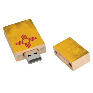 Símbolo de Zia Sun del grunge de New México Pen Drive De Madera USB 2.0