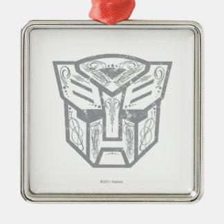 Símbolo decorativo de Autobot Adorno Cuadrado Plateado