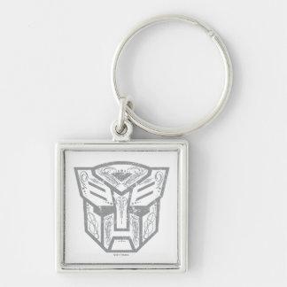 Símbolo decorativo de Autobot Llavero Cuadrado Plateado