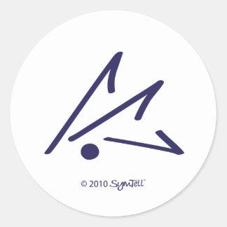Símbolo defensivo púrpura de SymTell Pegatina Redonda