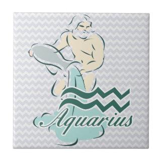 Símbolo del acuario de la muestra del zodiaco azulejo cuadrado pequeño
