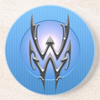 Símbolo del acuario del hierro, azul posavasos manualidades