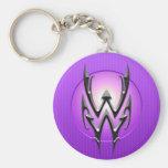 Símbolo del acuario del hierro, púrpura llavero personalizado