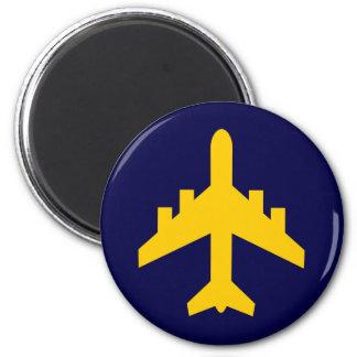 Símbolo del aeroplano en círculo imanes de nevera
