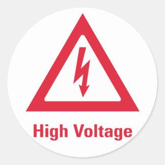 Símbolo del alto voltaje del peligro pegatina redonda