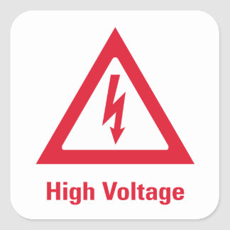Símbolo del alto voltaje del peligro pegatina cuadrada