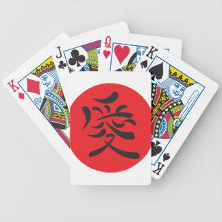 Símbolo del amor del kanji barajas de cartas