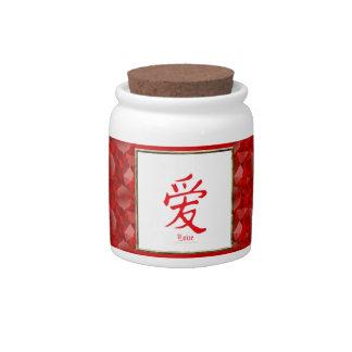 Símbolo del amor del kanji jarras para caramelos
