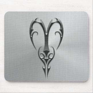Símbolo del aries del acero inoxidable tapete de raton