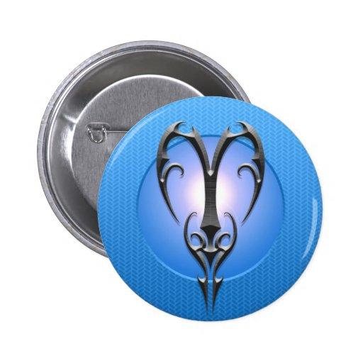 Símbolo del aries del hierro, azul pin