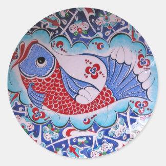 Símbolo del arte de la fortuna/de la teja etiquetas redondas