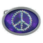 Símbolo del arte de la paz hebilla de cinturón oval