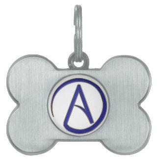 Símbolo del ateísmo placa de nombre de mascota
