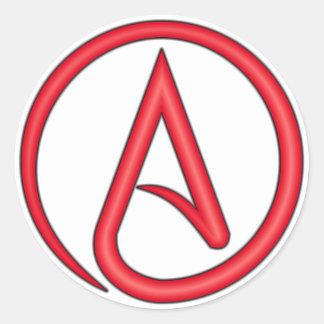Símbolo del ateo de la letra escarlata etiqueta redonda