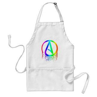 símbolo del ateo del arco iris de la sangría delantal