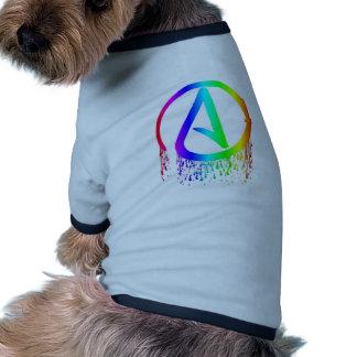 símbolo del ateo del arco iris de la sangría camiseta con mangas para perro
