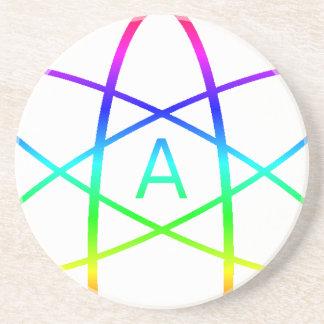 Símbolo del ateo del arco iris posavaso para bebida