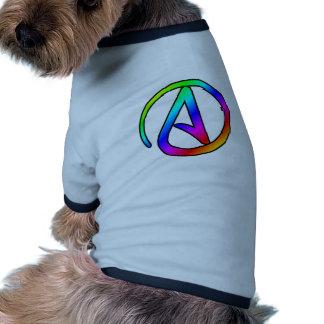 Símbolo del ateo del arco iris camiseta con mangas para perro