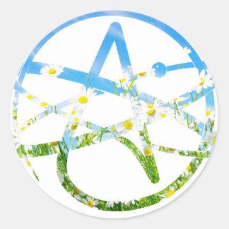 Símbolo del ateo del Día de la Tierra Pegatina Redonda