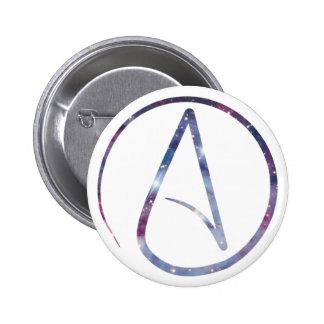 Símbolo del ateo del espacio pin redondo de 2 pulgadas