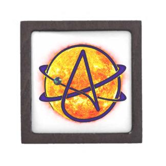 Símbolo del ateo el flamear Sun Caja De Joyas De Calidad