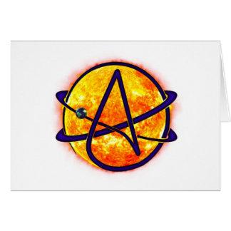 Símbolo del ateo el flamear Sun Tarjeta De Felicitación