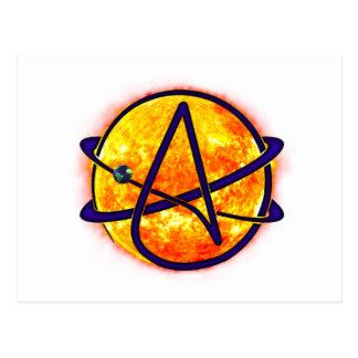 Símbolo del ateo el flamear Sun Postal