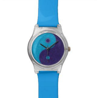 símbolo del azul de yin-Yang Reloj De Mano