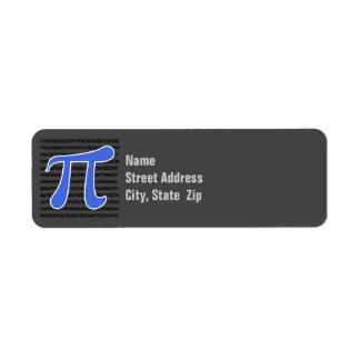 Símbolo del azul real pi etiquetas de remite