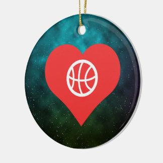 Símbolo del baloncesto que lanza adorno navideño redondo de cerámica