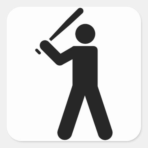 Símbolo del béisbol pegatina cuadrada
