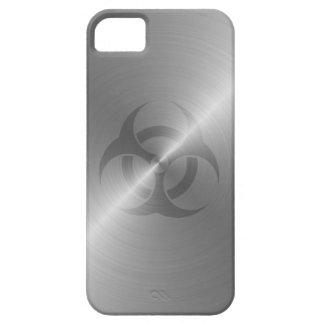 Símbolo del Biohazard en acero Funda Para iPhone 5 Barely There