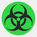 Símbolo del Biohazard Etiquetas Redondas