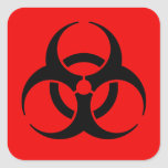 Símbolo del Biohazard Pegatina Cuadrada