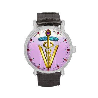 SÍMBOLO del CADUCEO DE ORO/rosa VETERINARIOS, lila Relojes De Mano