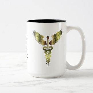 Símbolo del caduceo del oro taza de café de dos colores