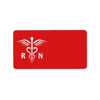 Símbolo del caduceo del RN de la enfermera Etiqueta De Dirección