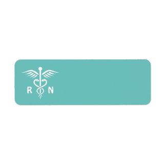 Símbolo del caduceo del RN de la enfermera Etiqueta De Remitente