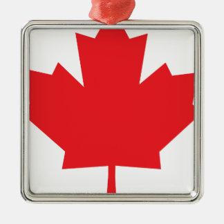 Símbolo del canadiense de la hoja de arce de adorno cuadrado plateado