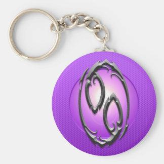 Símbolo del cáncer del hierro, púrpura llavero redondo tipo pin