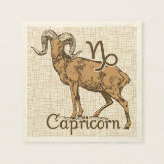 Símbolo del Capricornio de la muestra del zodiaco Servilleta Desechable